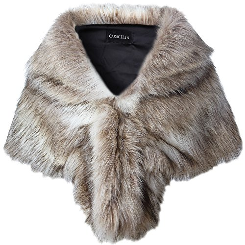Caracilia Women Luxury Faux Fur Shawl Wrap Stole Cape For Wedding Fox Fur S CA95 Fox White / Brown
