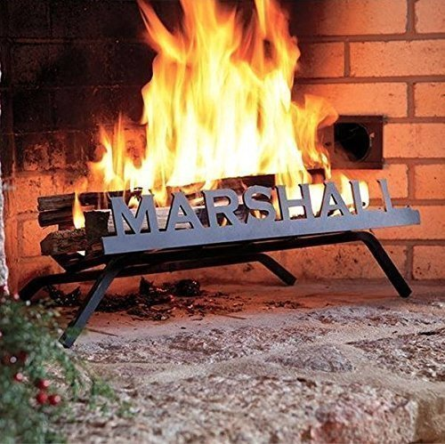 Personalized Fireplace Grate (Block Font) - Custom American-Made Steel with Fire Retardant Black Finish - Durable, Strong and Handcrafted - Perfect for Any Fireplace - Stay Cozy For the Holidays by GiveThemAPP