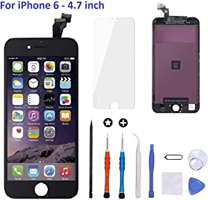 iPhone 6 Screen Replacement Black,Goldwangwang 4.7inch LCD Touch Screen Digitizer Replacement Fully Frame Display Assembly Set with Repair Tool kit + Tempered Glass Screen Protector + Instruction