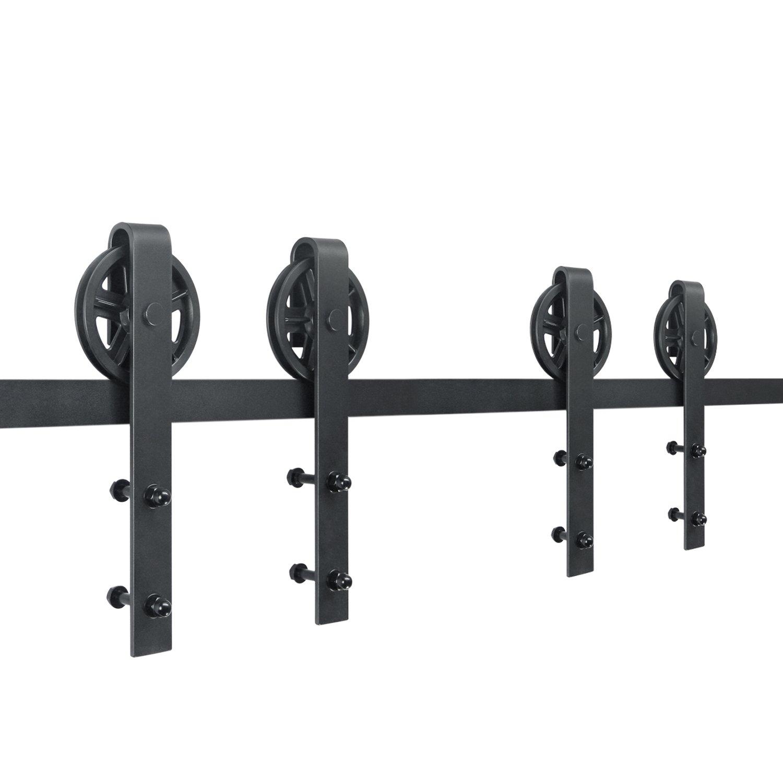 SMARTSTANDARD 10ft Double door Sliding Barn Door Hardware (Black) (Big Industrial Wheel Hangers Shape Hangers) (2 x5 foot Rail)