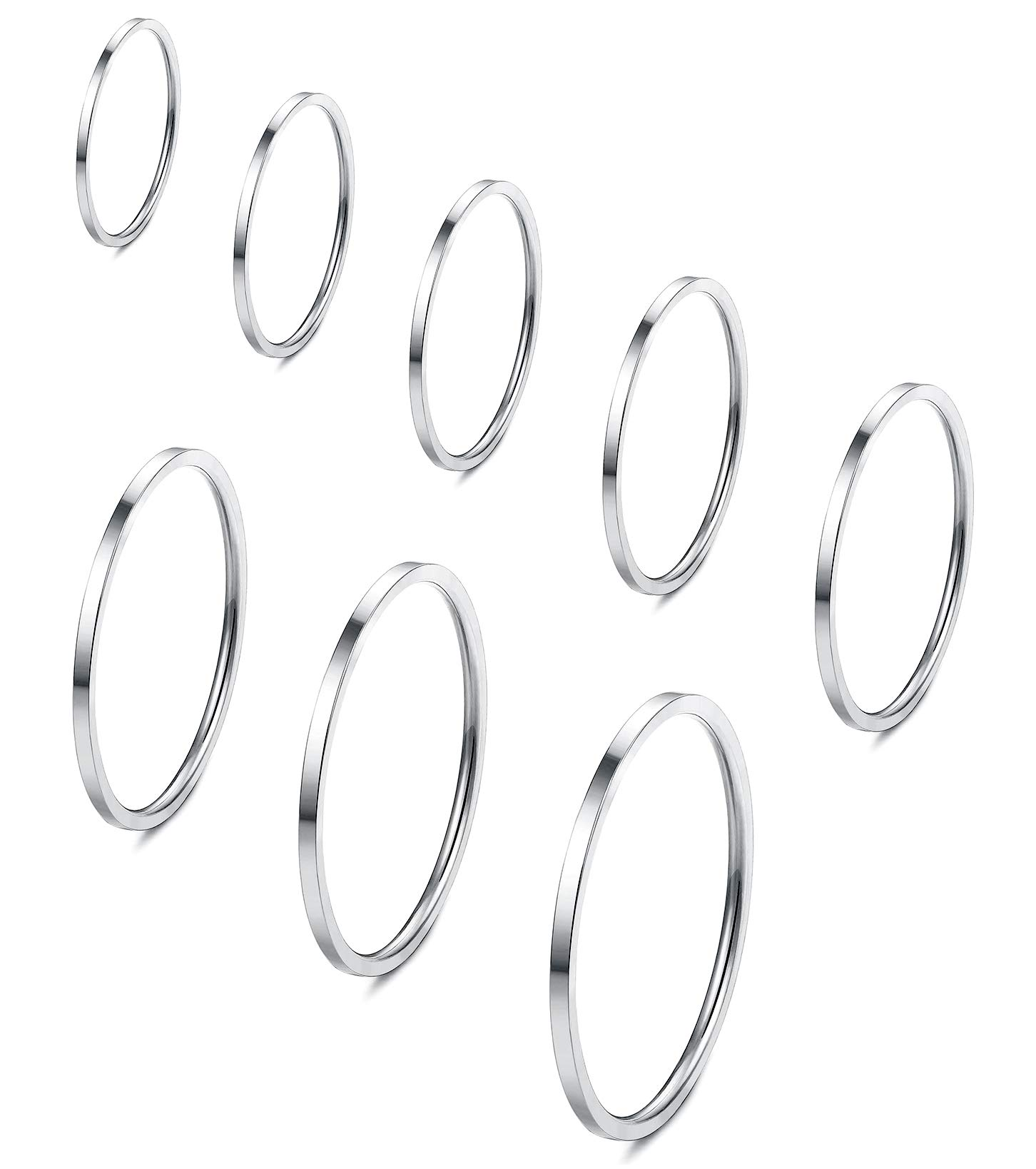 Fiasaso 8 Pcs 1mm Stainless Steel Stacking Rings Knuckle Rings Plain Rings Midi Rings Comfort Fit Size 2 to 9 Silver Tone by Fiasaso