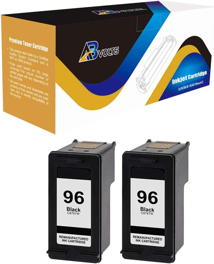 Black,2-Pack AB Volts Compatible Ink Cartridge Replacement for HP 96 C8767WN for Deskjet 5740 5940 6520 6540 6620 6830 6840 6940 6980 6988 9800 Officejet 7210 7310 7410 Photosmart 2610 2710