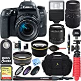 Canon EOS 77D 24.2 MP DSLR Camera with EF-S 18-55mm IS STM & Sigma 70-300mm Macro Telephoto Zoom Lens + Accessory Bundle