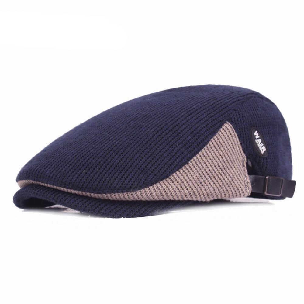 Chic Sombrero de espiga de algodón para hombre Gorras ajustables de boina  Scally cálido Sombrero de 6c4c0f1dd28