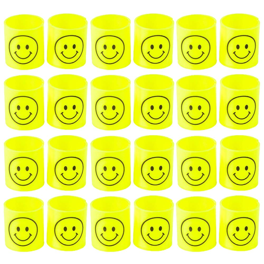 """Toy Collection Class Rewards Set of 24-1.4/"""" Plastic Coil Spring with Smile Face Design for Easter Basket Treats Playtime Activity Pi/ñata Fillers Kicko Smiley Face Springs"""