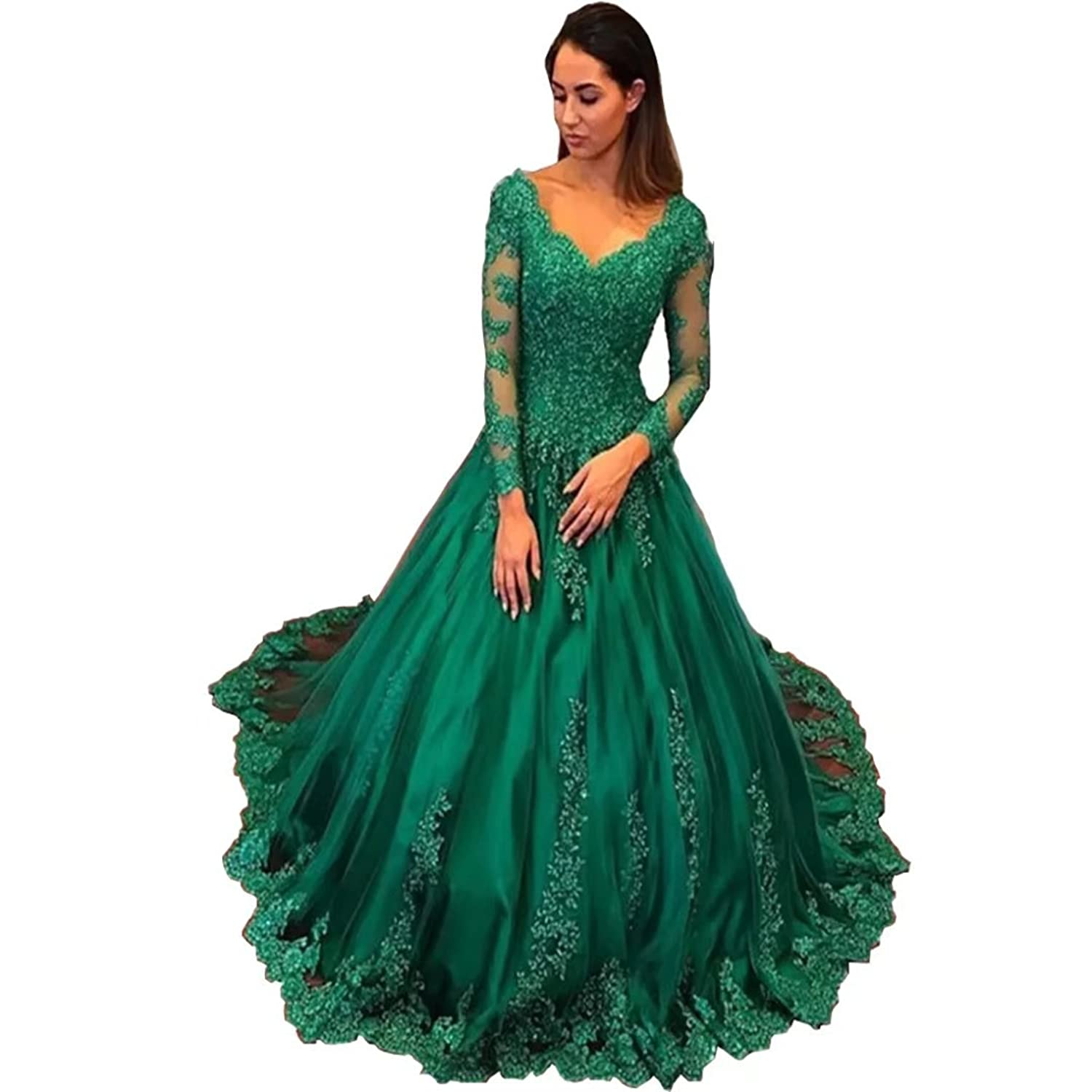 Chady Elegant Plus Size Evening Gowns 2017 Emerald Green Ball Gown