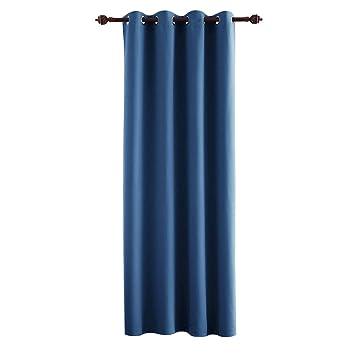 Deconovo Cortinas Opacas para Habitacion Aislamiento Térmico con Ojales 1 Pieza 132 x 214 cm Azul: Amazon.es: Hogar