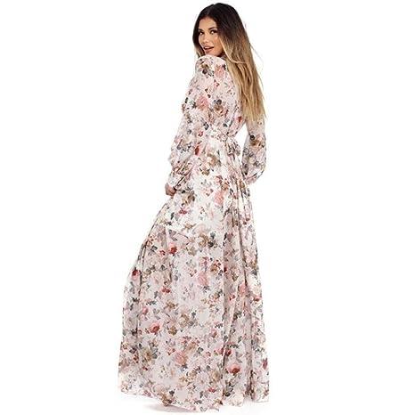 FUNIC Womens Dress, Chiffon Floral Printing Long Maxi Dress Long Sleeve Evening Party Beach Dress at Amazon Womens Clothing store: