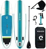 WOWSEA SUP サップ インフレータブル スタンドアップパドルボード【2019新型】カヤックシート付き 積載重量130-150kg 安定性抜群 滑り止め ヨガ 釣り マリンスポーツ 海
