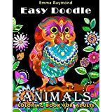Easy Doodle Animals: Coloring Book for Adults