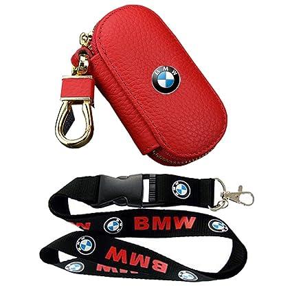 Lujo BMW rojo funda llavero Fob remoto de piel funda de ...