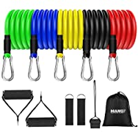 Mang Resistance Band Set 11pcs, tube Band Stackable Up to 150lb, Workout Bands With Door Anchor, handle & Ankle Straps…