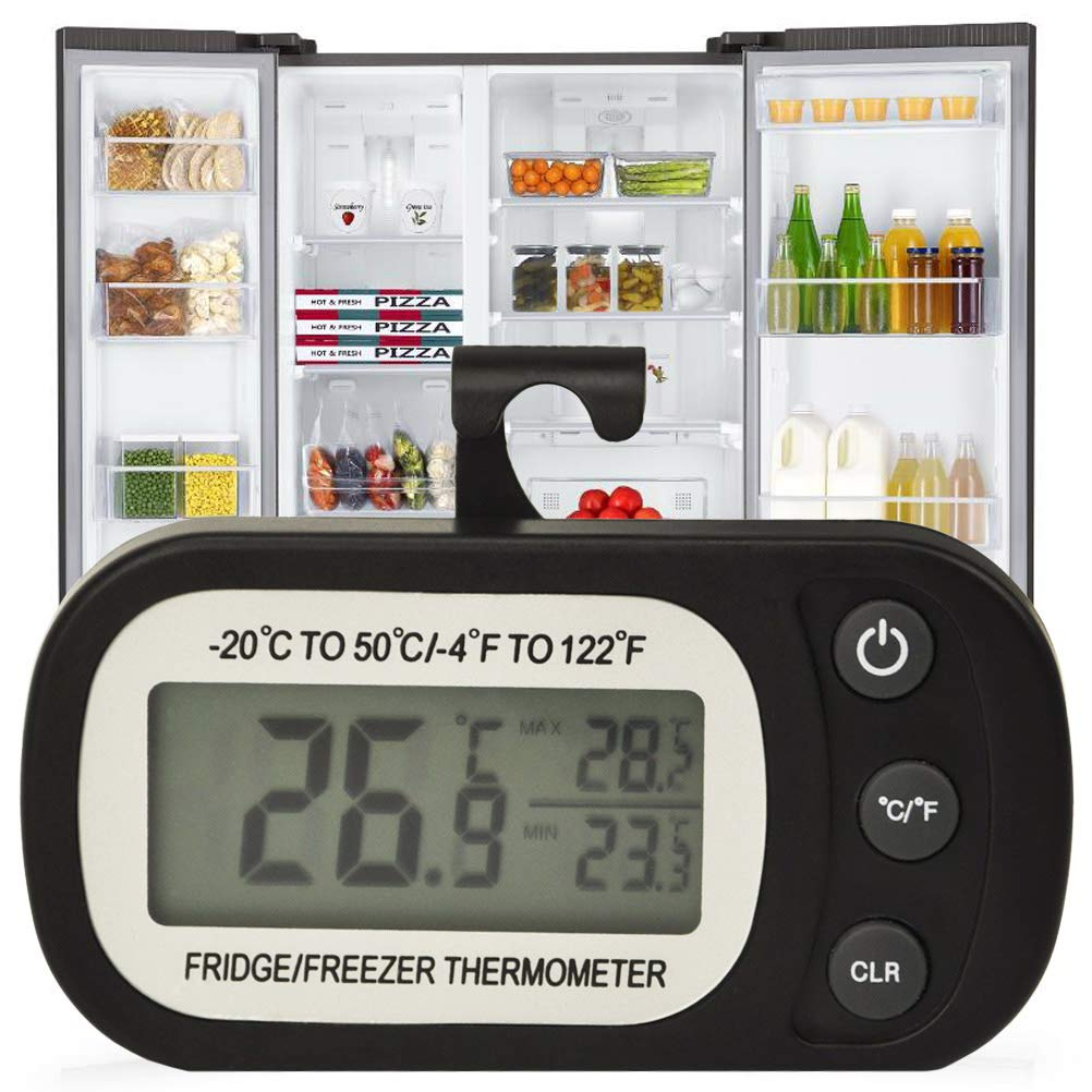 Refrigerator Thermometer-Digital Waterproof Freezer Fridge Room Thermometer, Temperature Monitor Max/Min Record Function Large LCD Screen and Magnetic back for Kitchen, Home (Black, Battery Included)