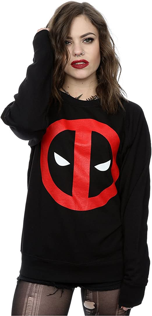 Marvel Damen Deadpool Clean Logo Pullover