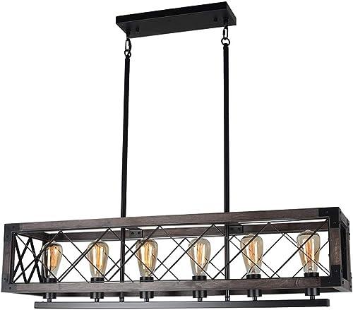 Beuhouz 37.8 Long Wood Chandelier Light for Kitchen Island, Metal Farmhouse Dining Room Lighting Rectangle Rustic Chandelier Billiard Light 6 Lights Edison E26 8001A