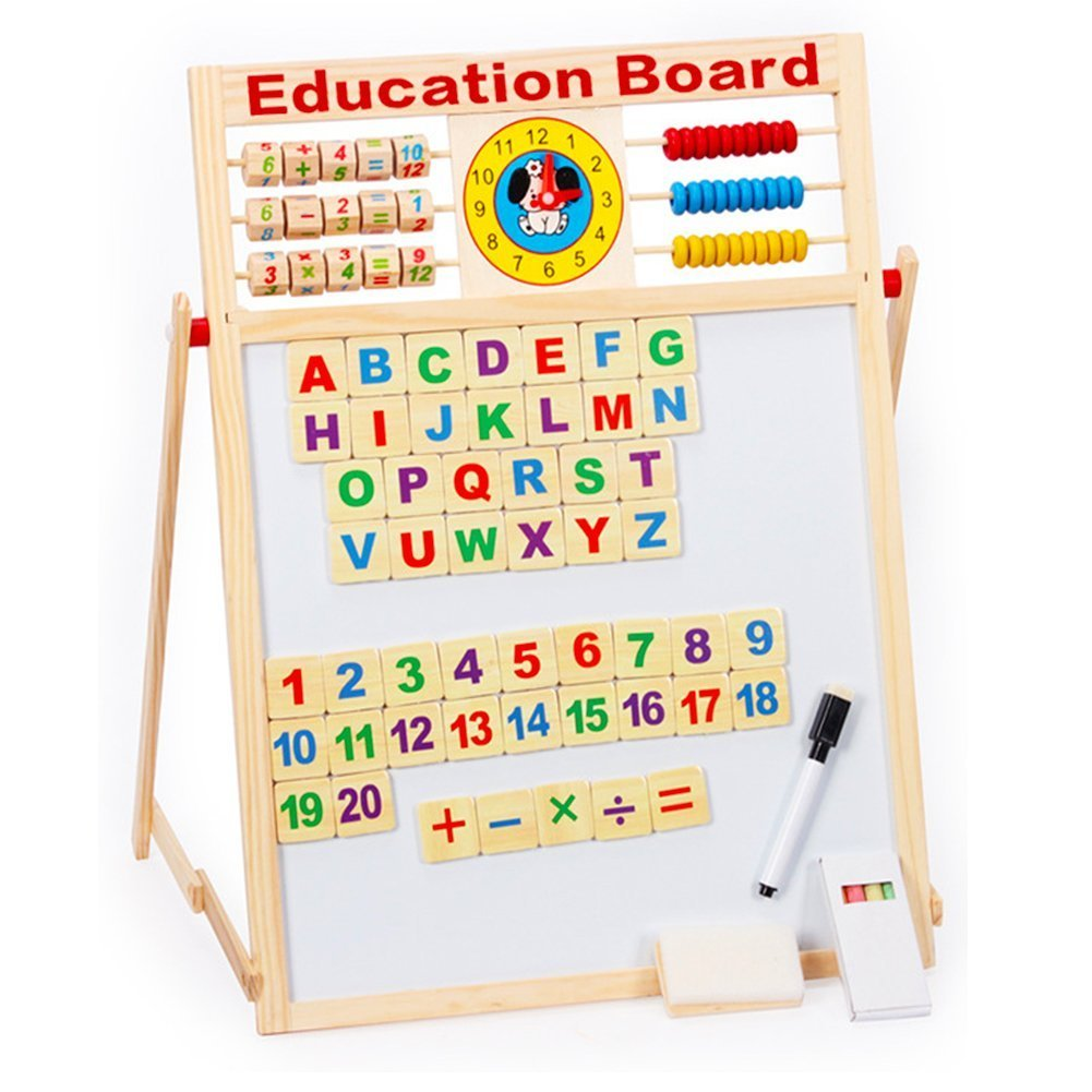 7 In 1 Magnetic White Board Black Board Dry Erase Board with Word 51 PCS Wooden Magnets Letters Numbers Words Chalk Pen for Education Drawing Writing Tablet (2 Sided) (Children's Easels)