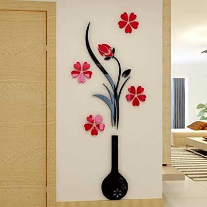 Alicemall Red Flower 3D Wall Sticker Pretty Plum Blossom Crystal ...