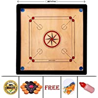 Medium Size 26 Inches Round Pocket Carrom Board with Coins, Striker, and Powder for Kids and Children