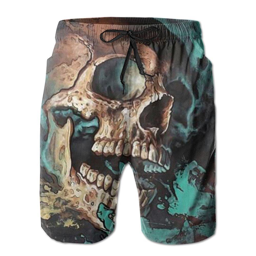 AA WIU Skull Art Mens Summer Quick Dry Swim Trunk Drawstring Surf Board Shorts Swimwear