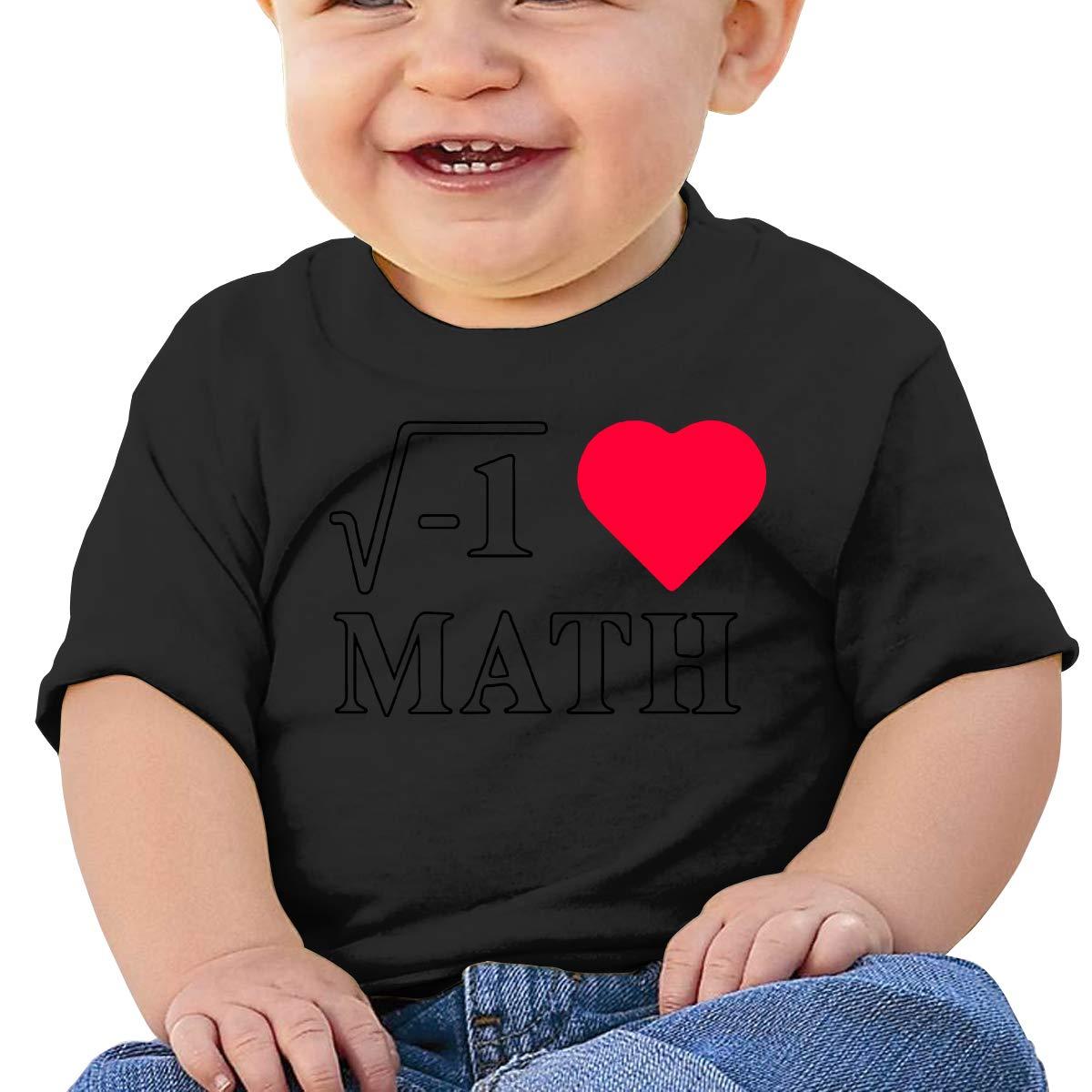 I Love Math Heart1 Baby Boy Newborn Short Sleeve T Shirts 6-24 Month Cotton Tops