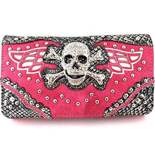 (Justin West Skull Crossbones Angel Wings Bling Concealed Carry Handbag Purse Trifold Crossbody Wallet (Hot Pink Wallet))