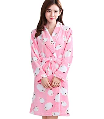 64fa564e6e Image Unavailable. Image not available for. Color  ECHERY Women s Plush Robe  Soft Warm Coral Fleece ...