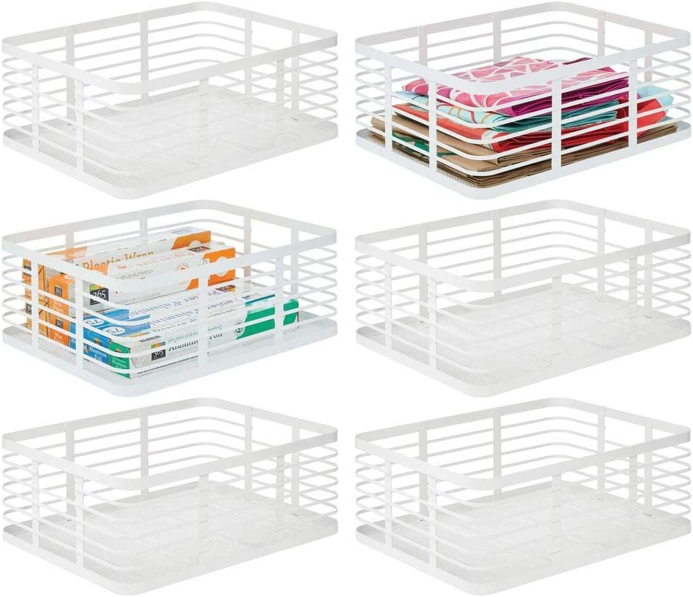 mDesign Modern Decor Metal Wire Food Organizer Storage Bin Baskets for Kitchen Cabinets, Pantry, Bathroom, Laundry Room, Closets, Garage - 6 Pack - White