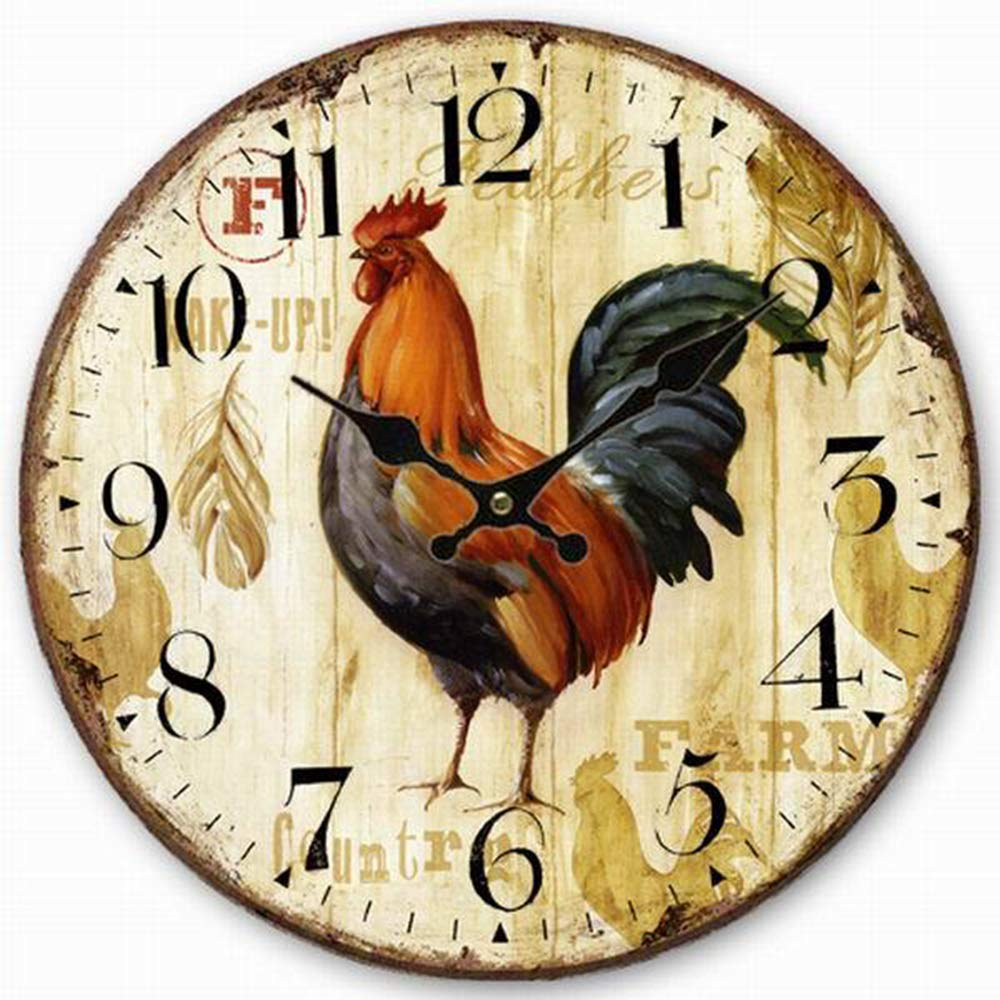 14-Inch Chicken Decorative Round Retro Vintage Silent Wooden Wall Clocks Non-Ticking for Kitchen Living Room Bathroom Bedroom Wall Decor NUTK Wall Clock