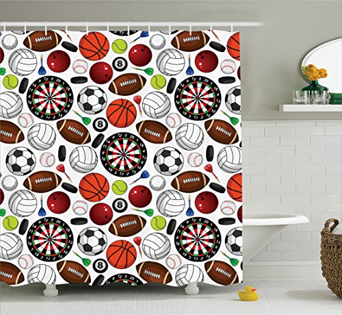 Ambesonne Sports Decor Collection, Pattern with Billiards Balls Hockey Pucks Darts Arrows and Target Boards Image, Polyester Fabric Bathroom Shower Curtain Set with Hooks, Orange White Burgundy (Curtains Orange Target)