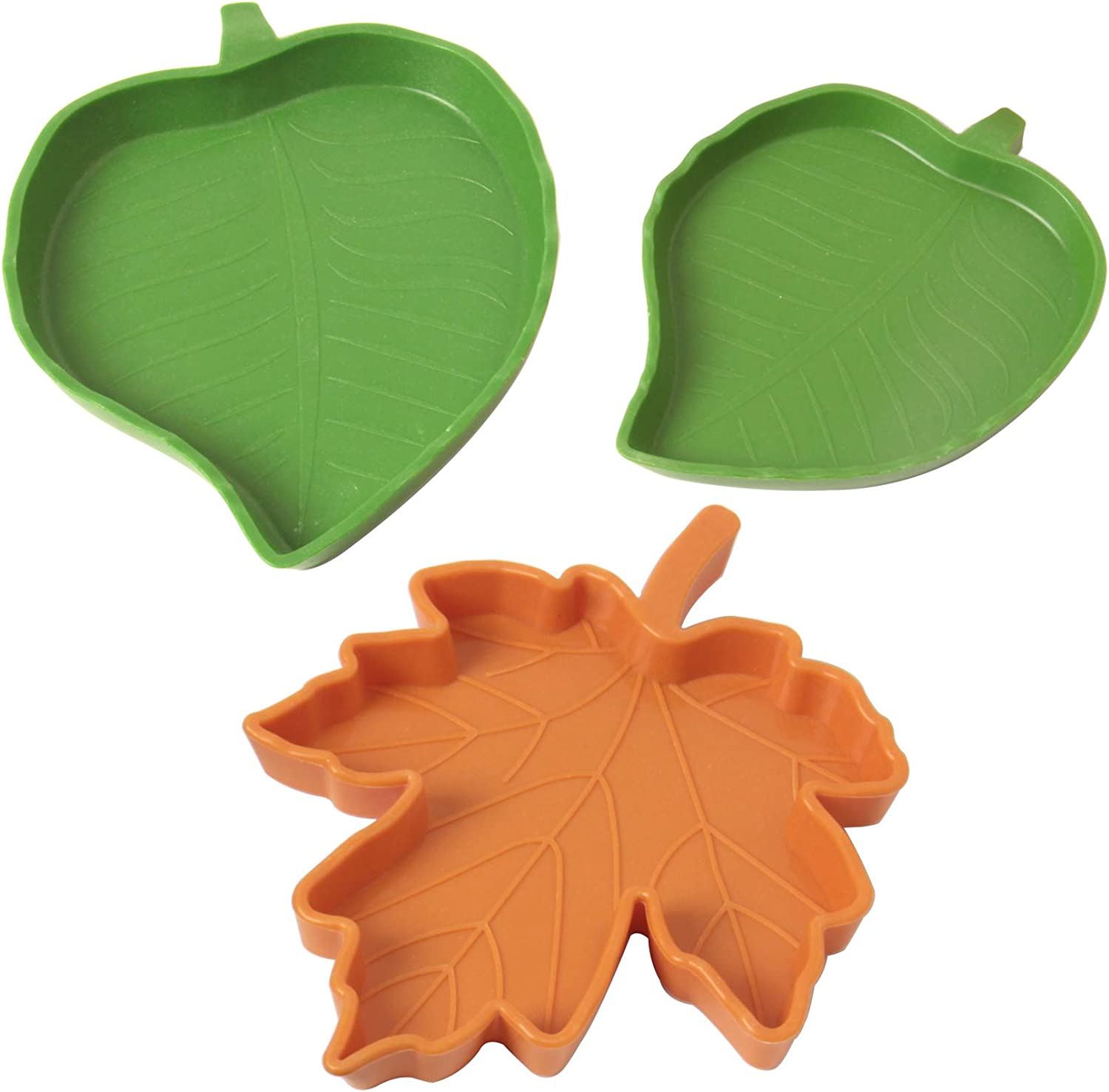 HAPY SHOP 3 Pieces Leaf Reptile Food Water Bowl Dish Plate Pet Aquarium Ornament for Tortoises Lizards Snake Crawl Pet or Small Reptiles Drinking and Eating(3 Style)