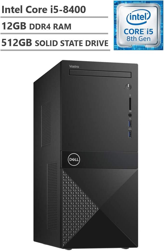 Dell Vostro Business Desktop, Intel Core i5-8400 2.80GHz Processor (9MB Cache, Up to 4.00GHz), Intel UHD Graphics 630, 12GB Memory, 512GB Solid State Drive, DVD, HDMI, Windows 10 Pro, Black