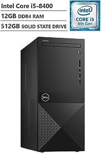 Dell Vostro Business Desktop, Intel Core i5-8400 2.80GHz Processor (9MB Cache, Up to 4.00GHz), Intel UHD Graphics 630, 12GB Memory, 512GB Solid State Drive, DVD, HDMI, Windows 10 Pro, Black