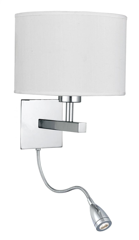 Bedroom - Modern Polished Chrome Wall Light with Fabric Shade & LED adjustable Reading Light - Houseoflights CTSL3550CHROMO
