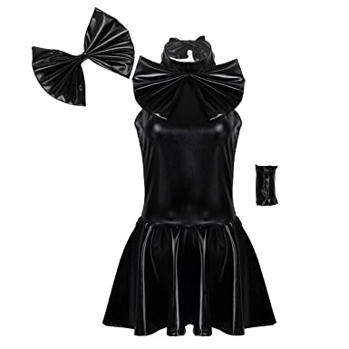 cde24e3af5 Amazon.com  Freebily Sexy Women PVC Leather French Maid Lingerie Outfits  Fancy Dress Costume  Clothing