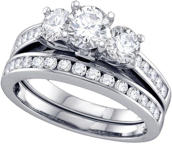 4 TCW 2.5 CT Princess CZ Solitaire Triple Band Bridal Engagement Ring Set Size 6