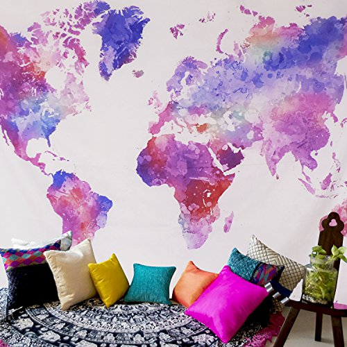 """Sunm boutique Watercolor World Map Tapestry Colorful Multi Splatter Abstract Painting Tapestry Wall Hanging Art for Living Room Bedroom Home Decor(World map,51.2\""""x59.1\"""")"""