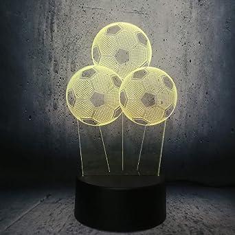 Creativo Balón de Fútbol Luz Nocturna Deportiva 3D LED Lámpara USB ...
