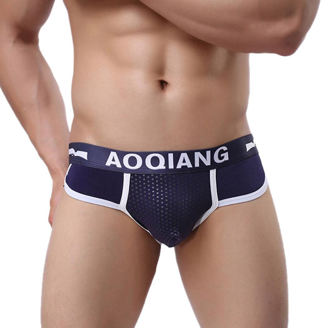 Pocciol Men's Underwear, Fashion Men's Cotton Boxer Briefs Bulge Pouch Soft Shorts Underpants (Blue, S)