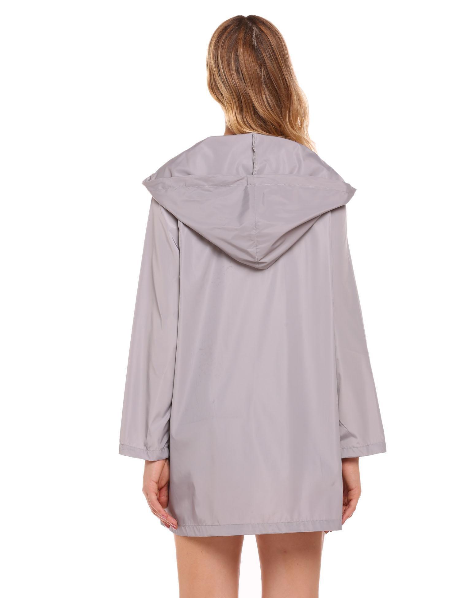 SoTeer Women's Raincoat Lightweight Grey Rain Jacket Long Sleeve Outdoor Waterproof Hooded Jacket Windbreaker Raincoats, Small by SoTeer