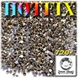 The Crafts Outlet DMC HOTFIX Iron on Superior Quality Glass 720-Piece Round Rhinestone Embellishment, 2mm, Champagne