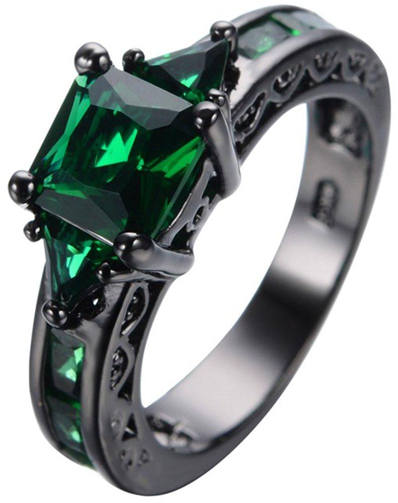 SaySure 10KT Black Gold Filled Emerald Anniversary Wedding & Engagement Ring