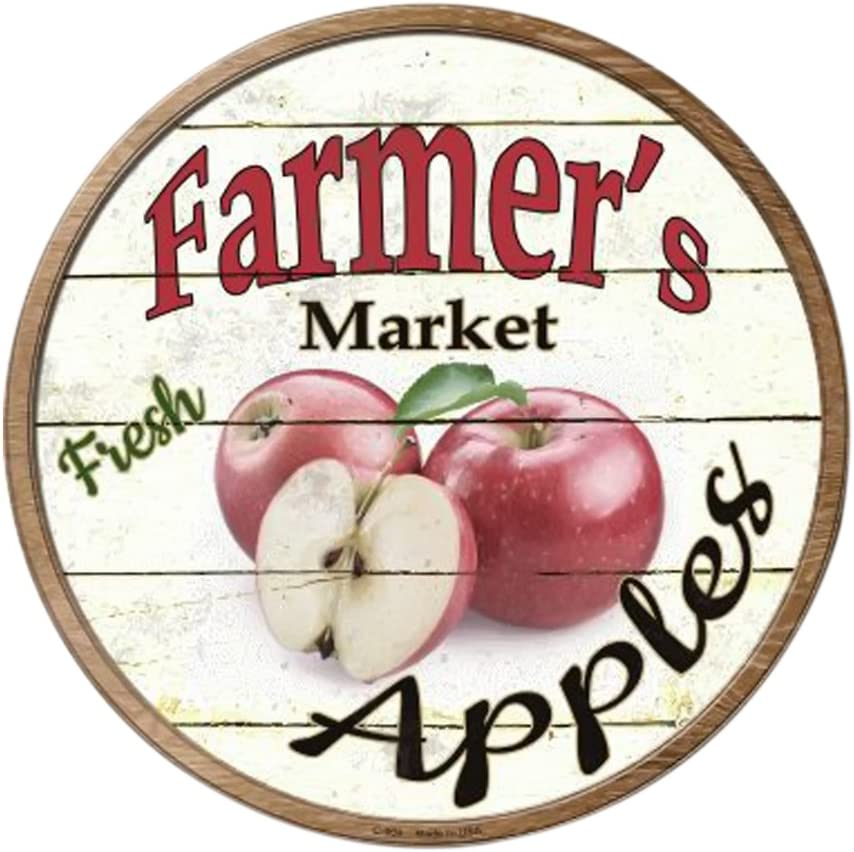 Smart Blonde Farmers Market Apples Novelty Metal Circular Sign C-604