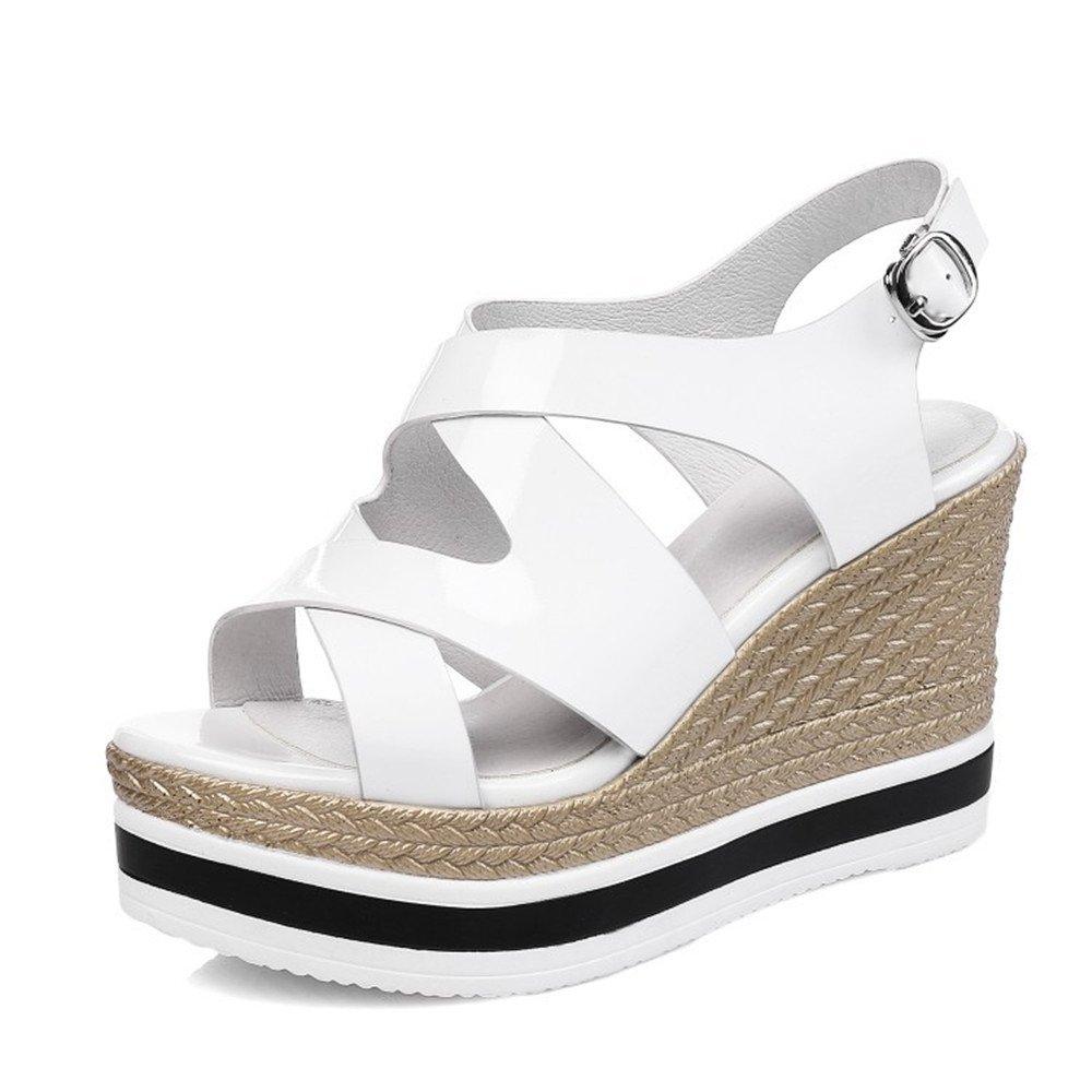 Shymamamiya EU) : Pente en Cuir Blanc, d été avec Une épaisse Plate-Forme Imperméable Buckle Cross Strap Sandals (Couleur : Blanc, Taille : 37 1/3 EU) Blanc bfe941b - automatisms.space