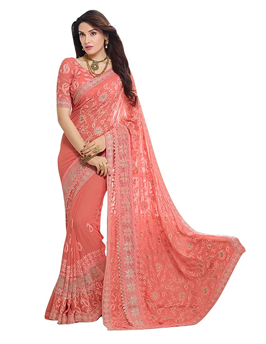 Craftsvilla Chiffon Saree With Blouse Piece (FKMS207-9004 Peach_Orange_Free Size)
