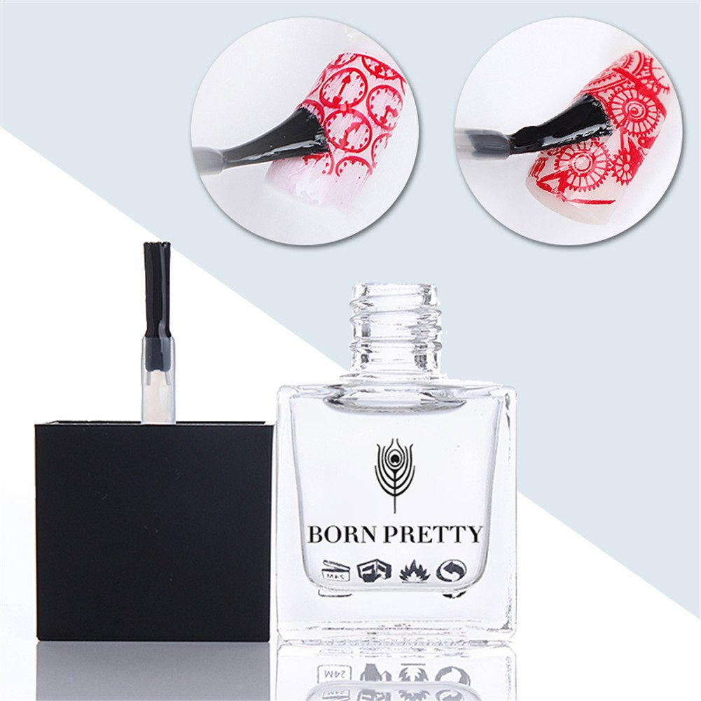 Born Pretty 1 Bottle 10ml No Smudge Top Coat Oil Nail Art Stamping Printed Care