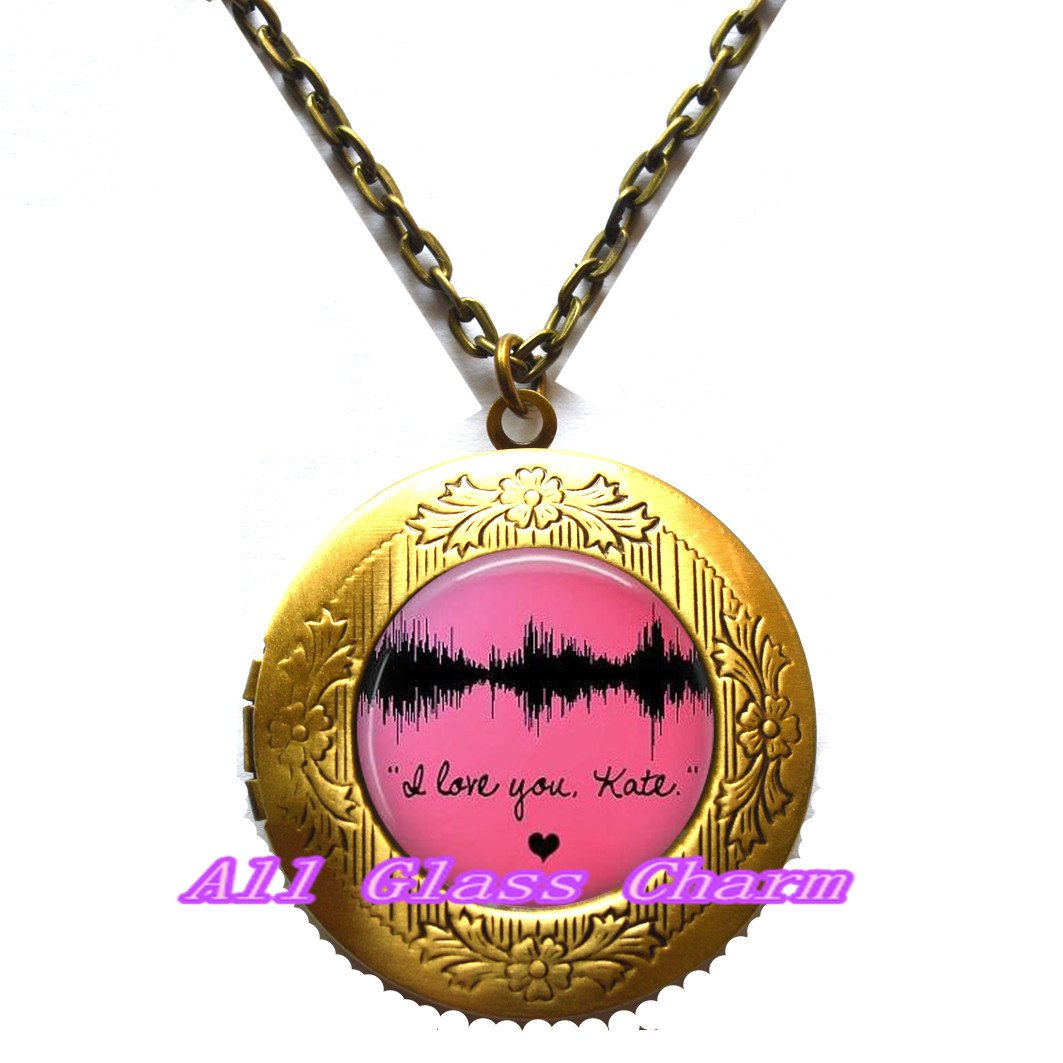 Voice Image Beautiful Locket Necklace,Your Own Voices Waveform Image Waveform Locket Necklace Locket Pendant Sound Wave Jewelry,AS0133