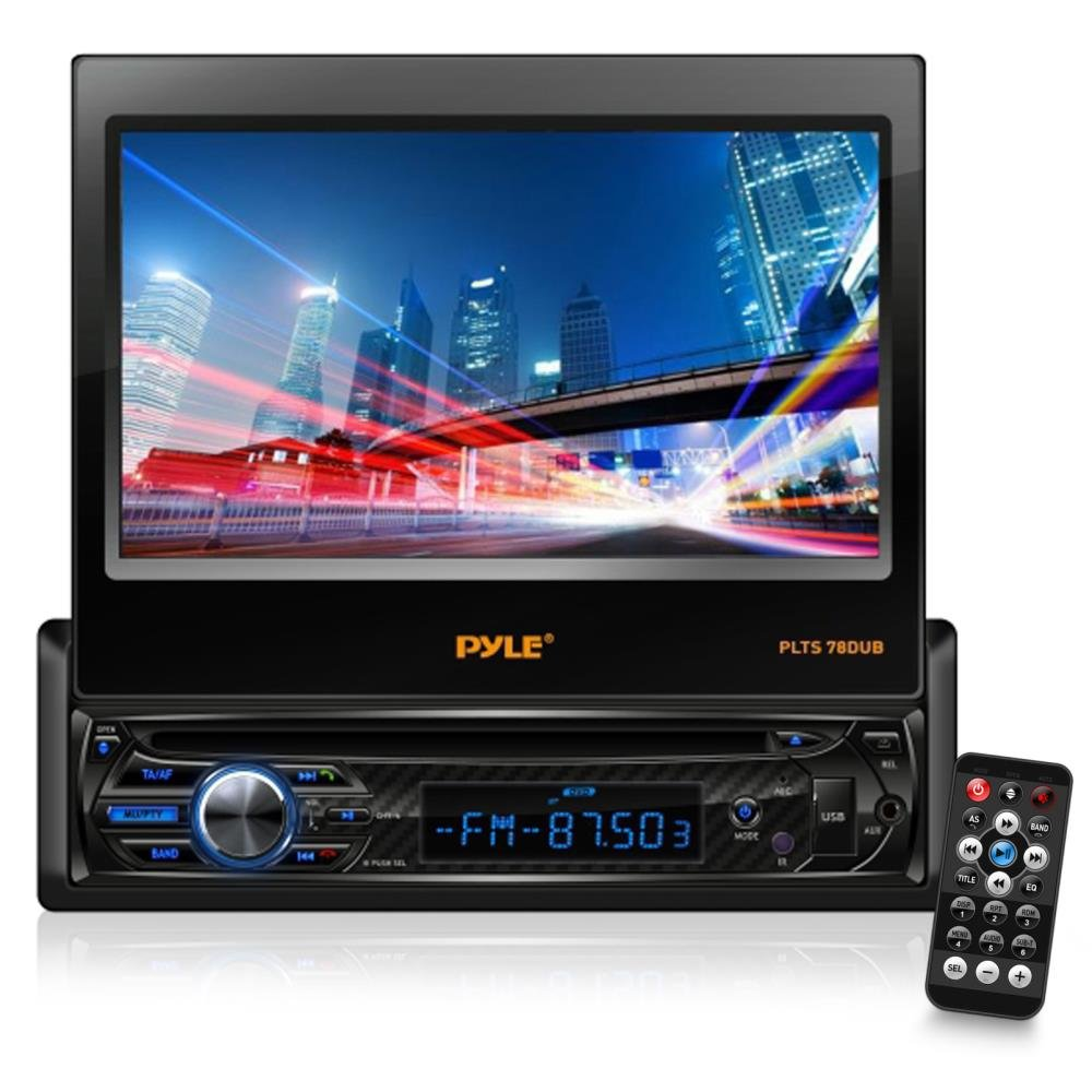 Pyle Single DIN In Dash Car Stereo Head Unit w/ 7inch Flip Out Touch Screen Monitor - Audio Video Receiver System with Radio, Bluetooth, Camera and CD DVD Player Input, MP3, USB, SD Reader - PLTS78DUB by Pyle