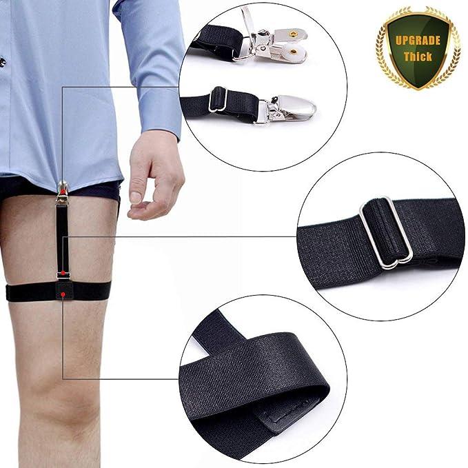 Estancia de camisa mejorada para hombres, sujetadores de correa de liga elástica ajustable con abrazaderas