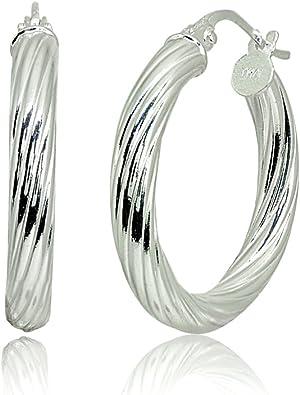 Sterling Silver Designer Polished Hoop Earrings
