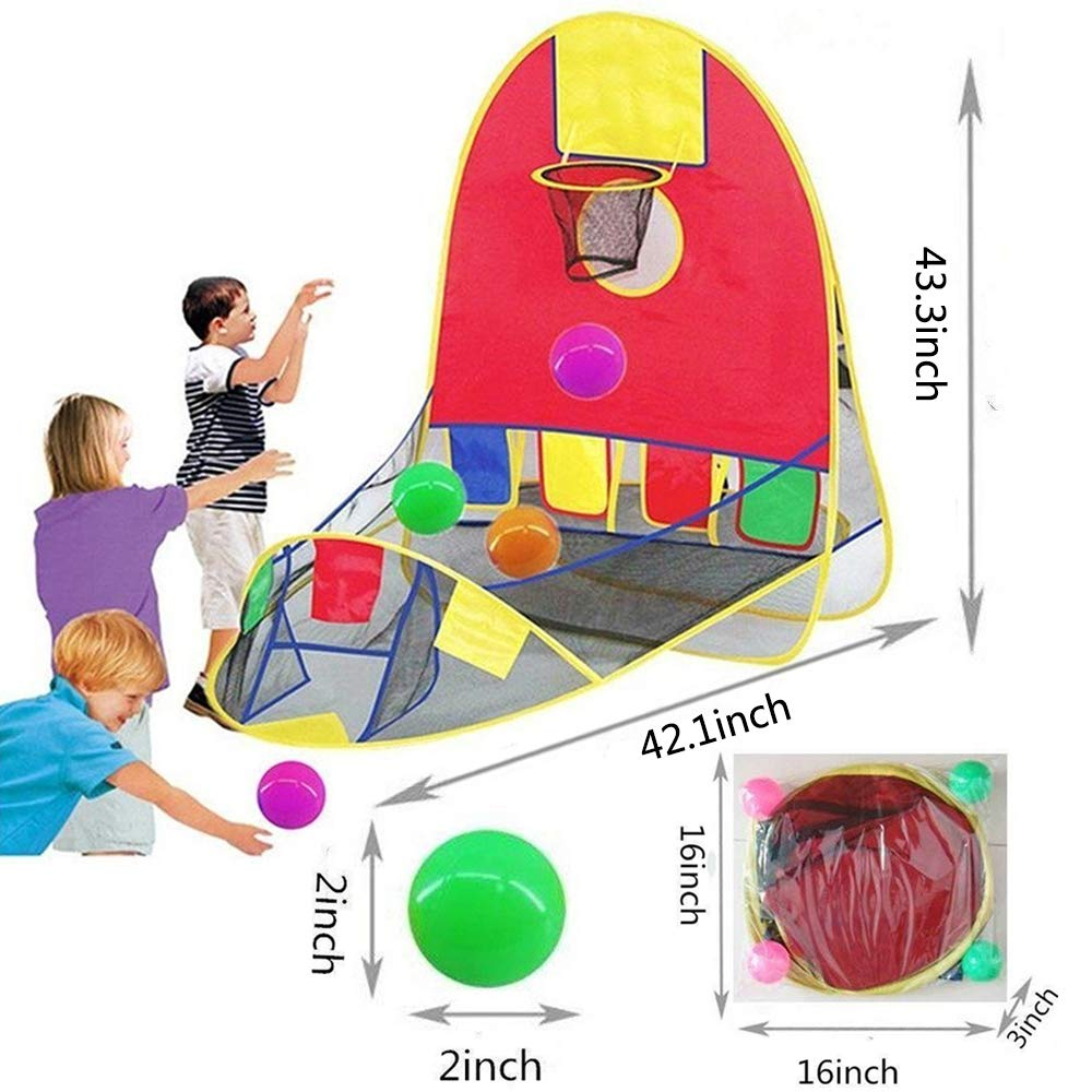 PlayTent For Kid's with Basketball Shooting Game Indoor and Outdoor Kids Ball Pit Foldable Playing Tent with Basketball Hoop Educational Toy for Children Toddler Girls Boys